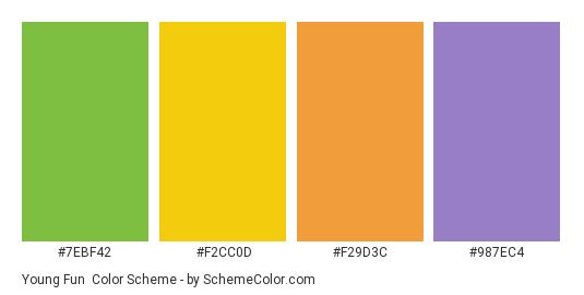 Young Fun - Color scheme palette thumbnail - #7ebf42 #f2cc0d #f29d3c #987ec4