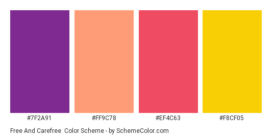 Free and Carefree - Color scheme palette thumbnail - #7f2a91 #ff9c78 #ef4c63 #f8cf05