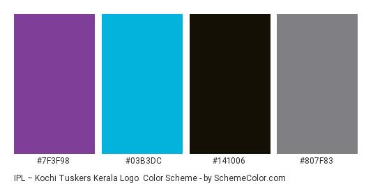 IPL – Kochi Tuskers Kerala Logo - Color scheme palette thumbnail - #7f3f98 #03b3dc #141006 #807f83