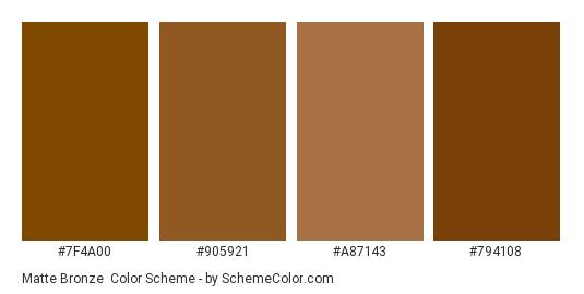 Matte Bronze - Color scheme palette thumbnail - #7f4a00 #905921 #a87143 #794108