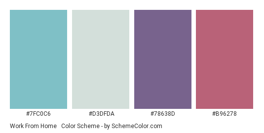 Work from Home #3 - Color scheme palette thumbnail - #7fc0c6 #d3dfda #78638d #b96278
