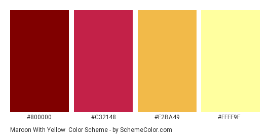 Maroon with Yellow - Color scheme palette thumbnail - #800000 #C32148 #F2BA49 #FFFF9F