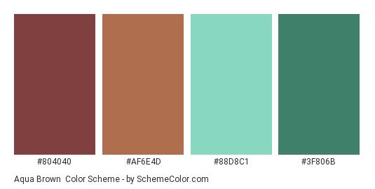 Aqua Brown - Color scheme palette thumbnail - #804040 #af6e4d #88d8c1 #3f806b