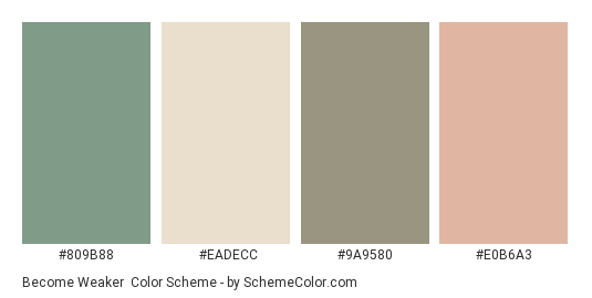 Become Weaker - Color scheme palette thumbnail - #809b88 #eadecc #9a9580 #e0b6a3