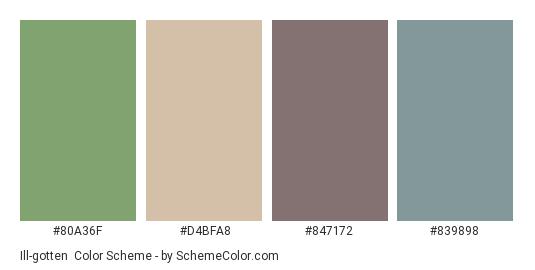 Ill-gotten - Color scheme palette thumbnail - #80a36f #d4bfa8 #847172 #839898