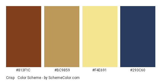 Crisp & Dramatic - Color scheme palette thumbnail - #813F1C #BC9859 #F4E691 #293C60