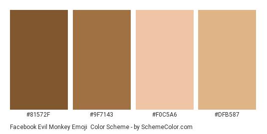 Facebook Evil Monkey Emoji - Color scheme palette thumbnail - #81572f #9f7143 #f0c5a6 #dfb587