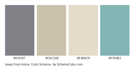 Away from Home - Color scheme palette thumbnail - #818287 #cac2ad #e4dbc8 #81b4b2