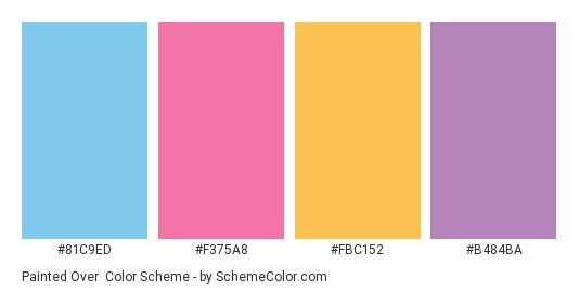 Painted Over - Color scheme palette thumbnail - #81c9ed #f375a8 #fbc152 #b484ba