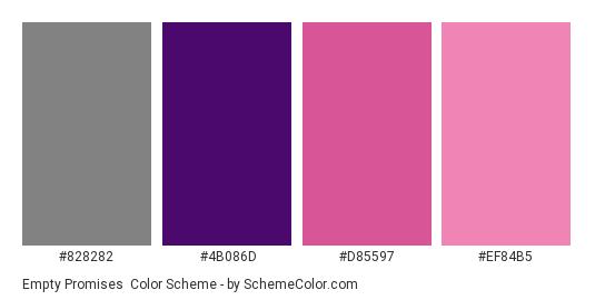 Empty Promises - Color scheme palette thumbnail - #828282 #4b086d #d85597 #ef84b5
