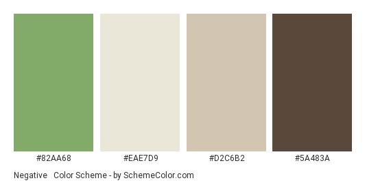 Negative & Positive - Color scheme palette thumbnail - #82AA68 #EAE7D9 #D2C6B2 #5A483A