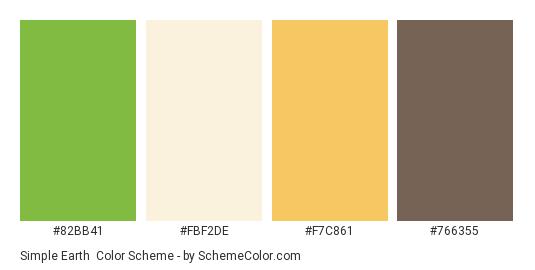 Simple Earth - Color scheme palette thumbnail - #82BB41 #FBF2DE #F7C861 #766355