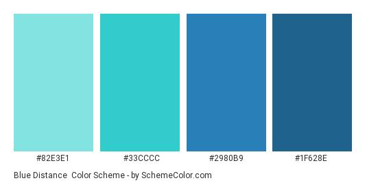 Blue Distance - Color scheme palette thumbnail - #82E3E1 #33CCCC #2980B9 #1F628E