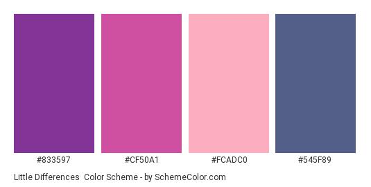 Little Differences - Color scheme palette thumbnail - #833597 #CF50A1 #FCADC0 #545F89