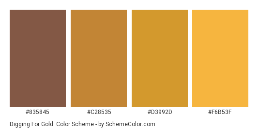 Digging for Gold - Color scheme palette thumbnail - #835845 #c28535 #d3992d #f6b53f
