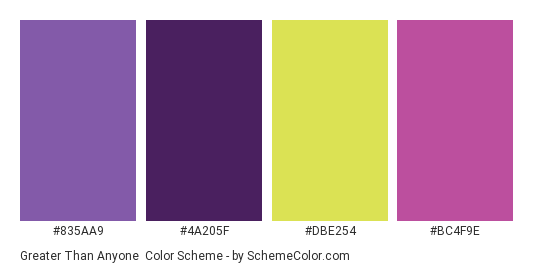 Greater Than Anyone - Color scheme palette thumbnail - #835AA9 #4A205F #DBE254 #BC4F9E