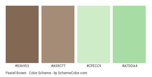 Pastel Brown & Green - Color scheme palette thumbnail - #836953 #A58C77 #CFECC9 #A7DDA4