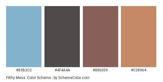 Filthy Mess - Color scheme palette thumbnail - #83B3CC #4F4A4A #886059 #C38964