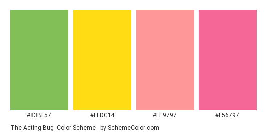 The Acting Bug - Color scheme palette thumbnail - #83bf57 #ffdc14 #fe9797 #f56797