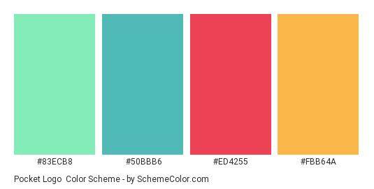 Pocket Logo - Color scheme palette thumbnail - #83ecb8 #50bbb6 #ed4255 #fbb64a