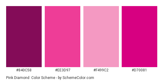 Pink Diamond - Color scheme palette thumbnail - #840C58 #EE3D97 #F499C2 #D70081