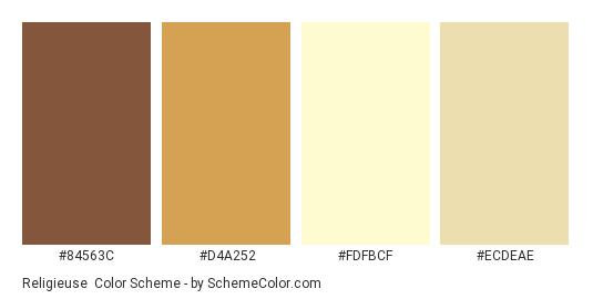 Religieuse - Color scheme palette thumbnail - #84563C #D4A252 #FDFBCF #ECDEAE