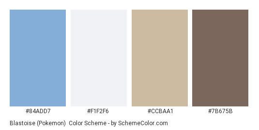 Blastoise (Pokemon) - Color scheme palette thumbnail - #84ADD7 #F1F2F6 #CCBAA1 #7B675B