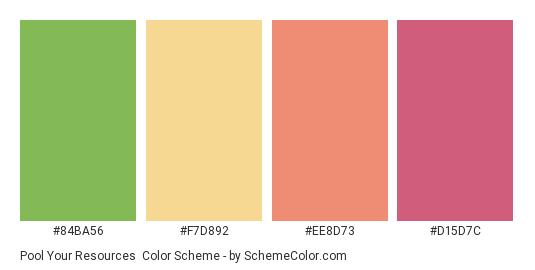 Pool Your Resources - Color scheme palette thumbnail - #84BA56 #F7D892 #EE8D73 #D15D7C