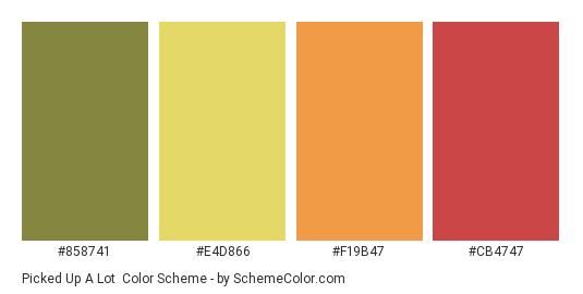 Picked up a Lot - Color scheme palette thumbnail - #858741 #E4D866 #F19B47 #CB4747