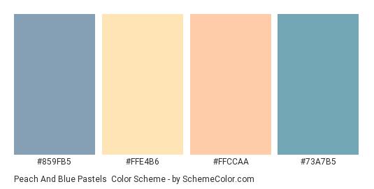 Peach and Blue Pastels - Color scheme palette thumbnail - #859fb5 #ffe4b6 #ffccaa #73a7b5