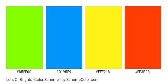Lots of Brights - Color scheme palette thumbnail - #85FF00 #0195F9 #FFF218 #FF3E03