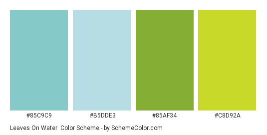 Leaves on Water - Color scheme palette thumbnail - #85c9c9 #b5dde3 #85af34 #c8d92a