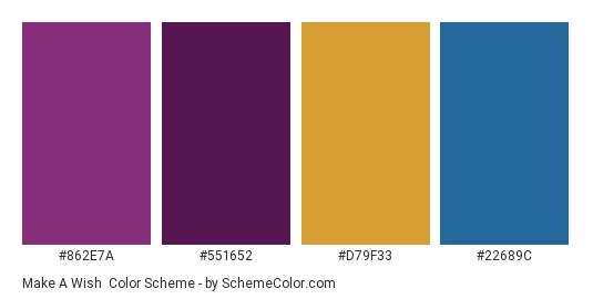 Make a Wish - Color scheme palette thumbnail - #862e7a #551652 #d79f33 #22689c