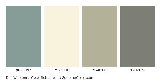 Dull Whispers - Color scheme palette thumbnail - #869D97 #F7F3DC #B4B199 #7D7E75