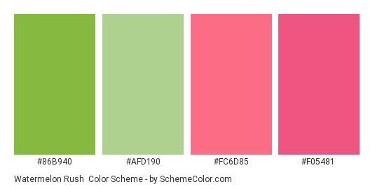 Watermelon Rush - Color scheme palette thumbnail - #86b940 #afd190 #fc6d85 #f05481