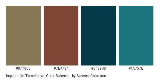 Impossible to Achieve - Color scheme palette thumbnail - #877855 #7e4734 #043948 #1a757e