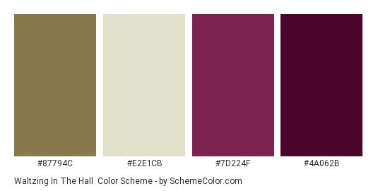 Waltzing in the Hall - Color scheme palette thumbnail - #87794c #e2e1cb #7d224f #4a062b