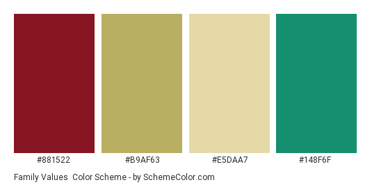 Family Values - Color scheme palette thumbnail - #881522 #b9af63 #e5daa7 #148f6f