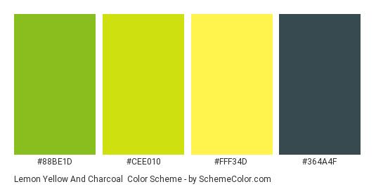 Lemon Yellow and Charcoal - Color scheme palette thumbnail - #88BE1D #CEE010 #FFF34D #364A4F