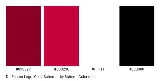 Dr. Pepper Logo - Color scheme palette thumbnail - #890024 #c5023c #ffffff #000000