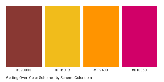 Getting Over - Color scheme palette thumbnail - #893833 #F1BC1B #FF9400 #D10068