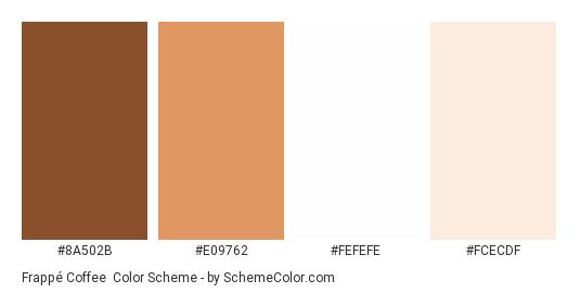 Frappé Coffee - Color scheme palette thumbnail - #8A502B #E09762 #FEFEFE #FCECDF
