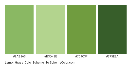 Lemon Grass - Color scheme palette thumbnail - #8AB863 #B3D48E #709C3F #375E2A