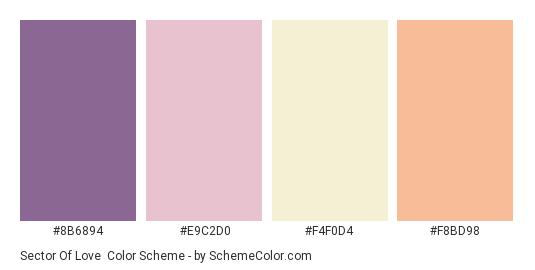 Sector of Love - Color scheme palette thumbnail - #8B6894 #E9C2D0 #F4F0D4 #F8BD98