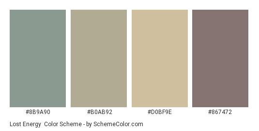 Lost Energy - Color scheme palette thumbnail - #8B9A90 #B0AB92 #D0BF9E #867472