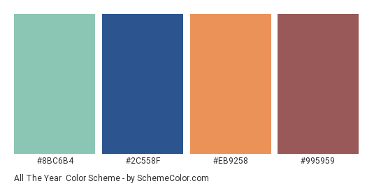 All the Year - Color scheme palette thumbnail - #8BC6B4 #2C558F #EB9258 #995959