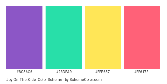 Joy on the Slide - Color scheme palette thumbnail - #8C56C6 #28DFA9 #FFE657 #FF6178