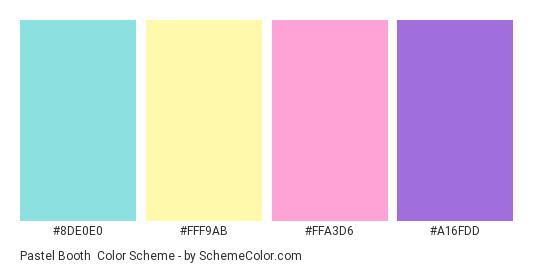 Pastel Booth - Color scheme palette thumbnail - #8DE0E0 #FFF9AB #FFA3D6 #A16FDD