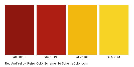 Red and Yellow Retro - Color scheme palette thumbnail - #8E180F #AF1E13 #F2B80E #F6D324