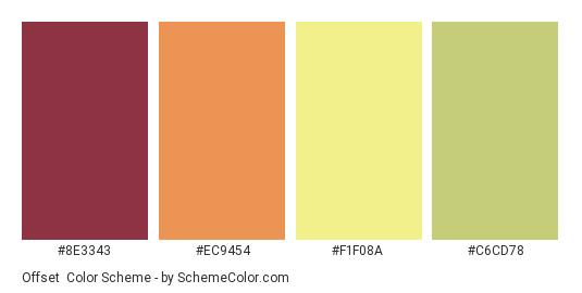 Offset - Color scheme palette thumbnail - #8E3343 #EC9454 #F1F08A #C6CD78